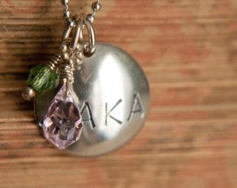 AKA Sorority Charm with Pink and Green Dangle Charms. Sterling Silver. Sorority Pendant. Handmade. University Sorority Charm. AKA.
