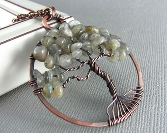Tree Of Life Necklace Wire Wrapped Pendant Labradorite Necklace Copper Wire Wrapped Jewelry