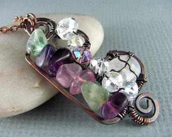 Wire Wrap Jewelry Copper Jewelry Wire Wrap Pendant Fluorite Necklace Wire Wrapped Jewelry Copper Necklace