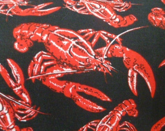 Timeless Treasures Red Lobsters in Black (9485-5)