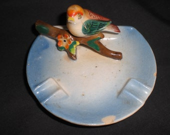 Vintage Occupied Japan Ashtray Bird On Branch Colorful Multicolor 1940s 50s