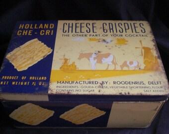 Vintage Tin Holland Cheese Crispies Che-Cri 1940s Metal Collectible Delft