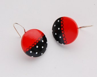 Hand painted wooden dangle earrings - red and black