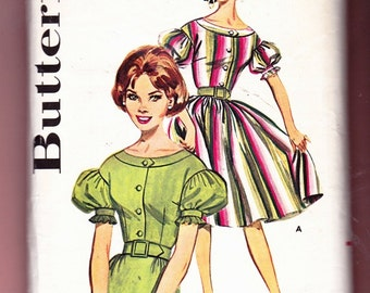 Butterick 9788 Vintage 1950's Misses Dress w' pencil or full Skirt Latern sleeves Belted waist Size 13 Pattern- 4