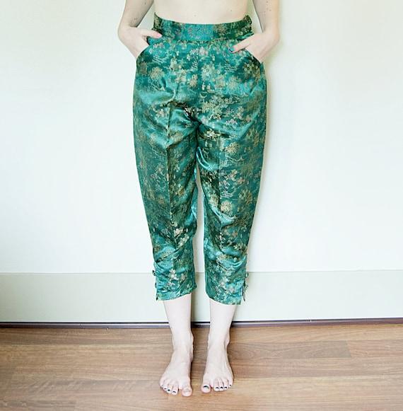 Vintage 1950s Capri Pants Oriental Satin Brocade Emerald