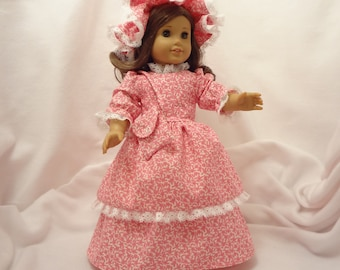 Strawberry pink floral print, long dress for 18 inch dolls, with white lace trim.