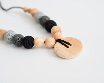 Black & Grey Button Nursing Necklace - Juniper Wood - KangarooCare