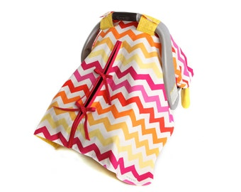 "Car Seat Canopy Cover with slit AND Nursing Veil! ""Chevron Sorbet"""