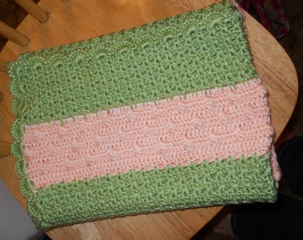 Peach and Green Bobble Stitch Blanket