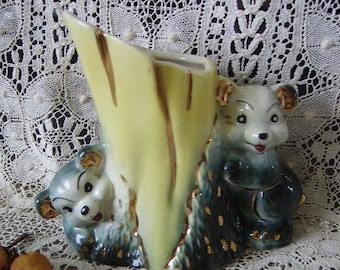 1950s Vintage Ceramic Bears Vase, mid century, container, decor