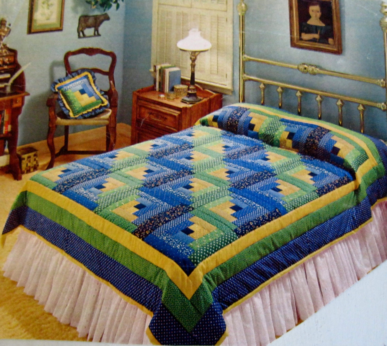 Quilt Kit Queen Log Cabin Size 82 X 96 Blue Green Yellow