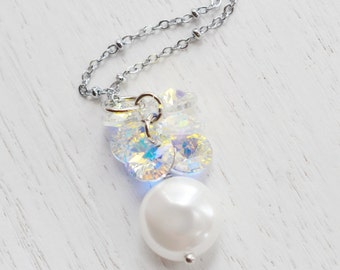 Coin Pearl with Swarovski Crystals Necklace,Swarovski Pearl Wedding Jewelry,Bridal Necklace,Bridesmaids Gift,Bridal Jewelry,Minimalist