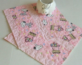Snoopy Easter Mug Rugs-Reversible-Free Shipping to US and Canada