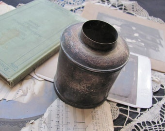 Old Tarnished Silver Plate Cream Urn Container