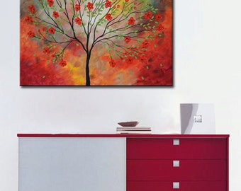 Red blossom tree, Abstract Tree, Tree Painting, Red Tree, Abstract Landscape, Palette Knife Heavy Textured Summer Floral