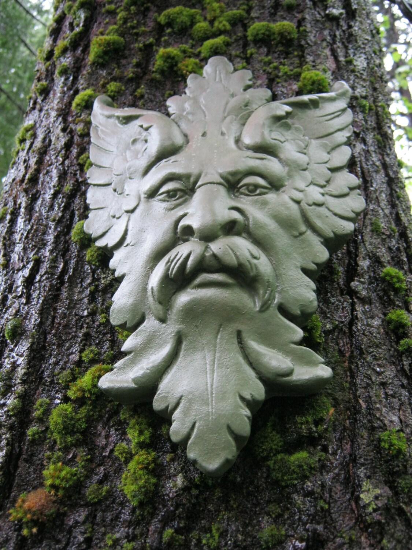 Green Man Garden Decor Hanging Face Concrete By