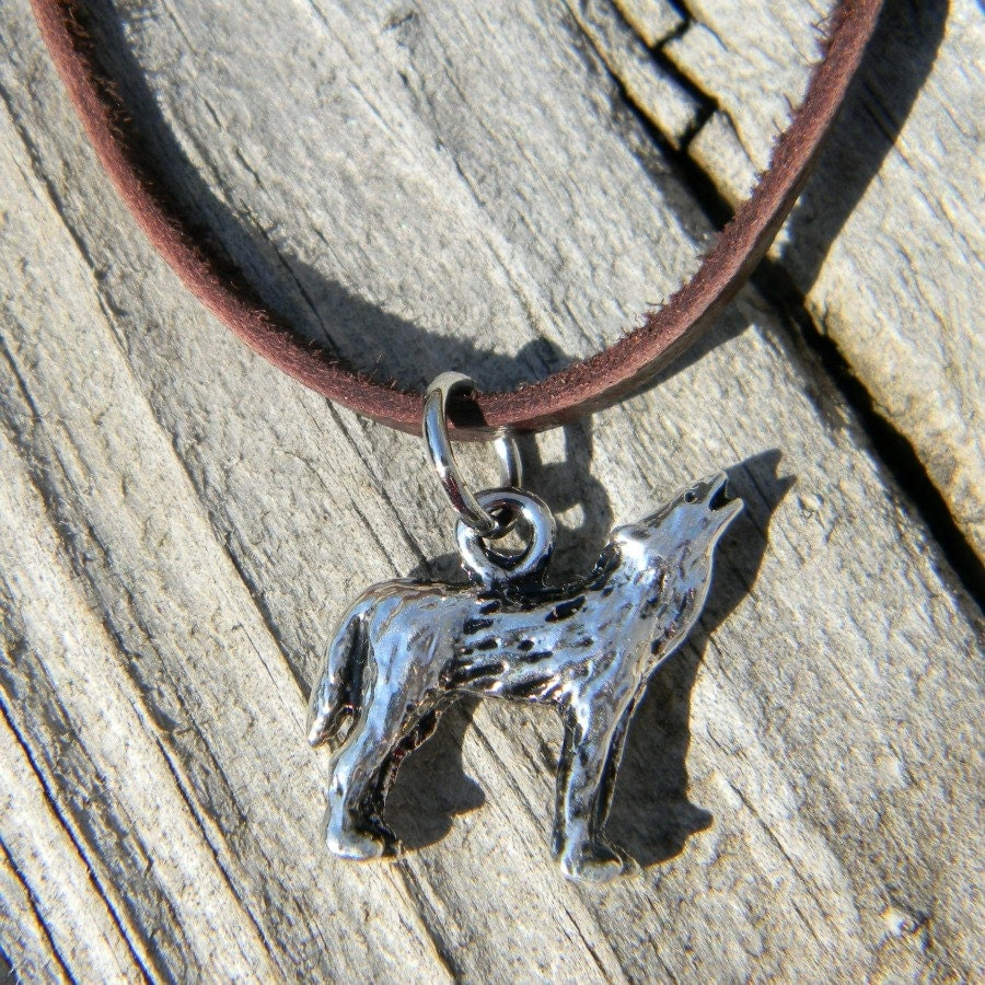 mens leather cord necklace wolf necklace masculine necklace