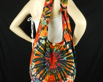 Firework Tie Dye Bag Purse Sling Messenger Crossbody Buddha Hobo Hippie Top Zip XL OAK VZ19