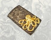 Octopus Business Card Case Steampunk Metal Card Case with Slide Out Mechanism Kraken Inlaid in Hand Enamel Painted Gray Swirl Custom Colors