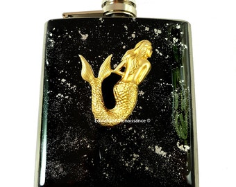 Steampunk Mermaid Flask Inlaid in Hand Painted Enamel Neo Victorian Siren Black and Silver Splash Custom Colors and Personalized Options