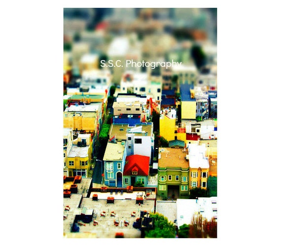 "San Francisco Photo. City Photo. tilt shift photo. ""Mini City""Houses. buildings. colorful. mini. red. yellow. green. blue. urban home decor."