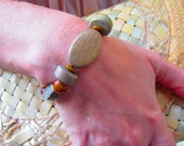 ROCK CLIMBER Handcrafted Picasso Jasper & Wood Beaded Unisex Stretch Bracelet