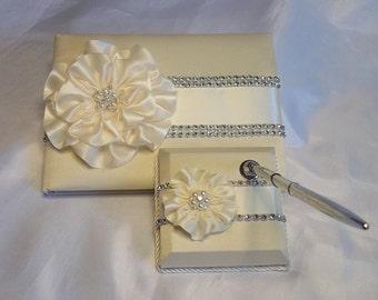 Wedding Guest Book, Ivory Wedding Guest Book Set, Wedding Guest Book & Pen Set, Ivory Flower and Trim, Rhinestone Mesh Trim,