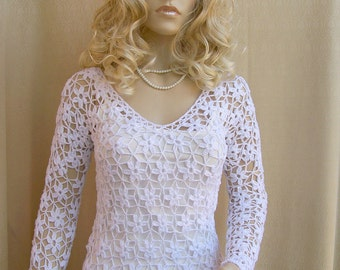 White Crocheted sweater crochet tunic summer coat crochet