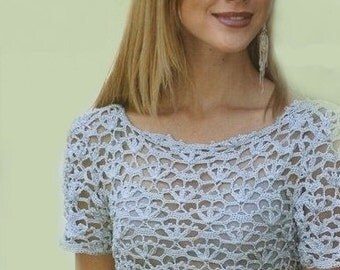 Crocheted dress tunic chic elegant bridal wedding  lace made to order, crochet handmade