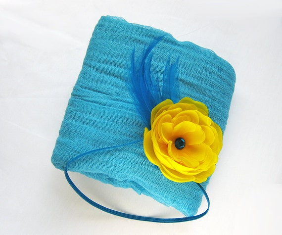 Newborn Wrap - Turquoise Cheesecloth Cheese Cloth Wrap with Headband Baby Headband for Newborn Portrait, Prop Photography, Photo Prop