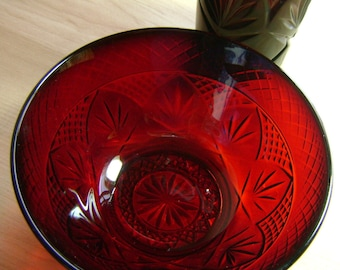 Vintage Ruby Red Glass and Bowl Set by Luminarc Acoroc