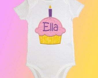 Birthday Bodysuit Shirt - Personalized Applique - Cupcake Candles - Embroidered Short or Long Sleeved - Free Shipping
