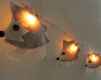 Hedgehog Nursery Night Light, Nursery Decor, Baby Shower Gift, String Lights, Woodland Theme