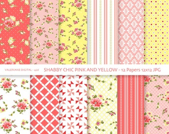 Shabby Chic Digital paper pack in pink and yellow, digital backgrounds, Cottage Papers, 12 jpg files 12x12 - INSTANT DOWNLOAD Pack 426
