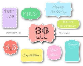 36 digital labels, digital frames, digital clip art, pastel labels, frame clip art, frame clipart- 434