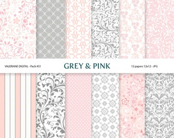 Digital papers  in pink and grey, digital backgrounds - 12 jpg files 12x12 - INSTANT DOWNLOAD Pack 451