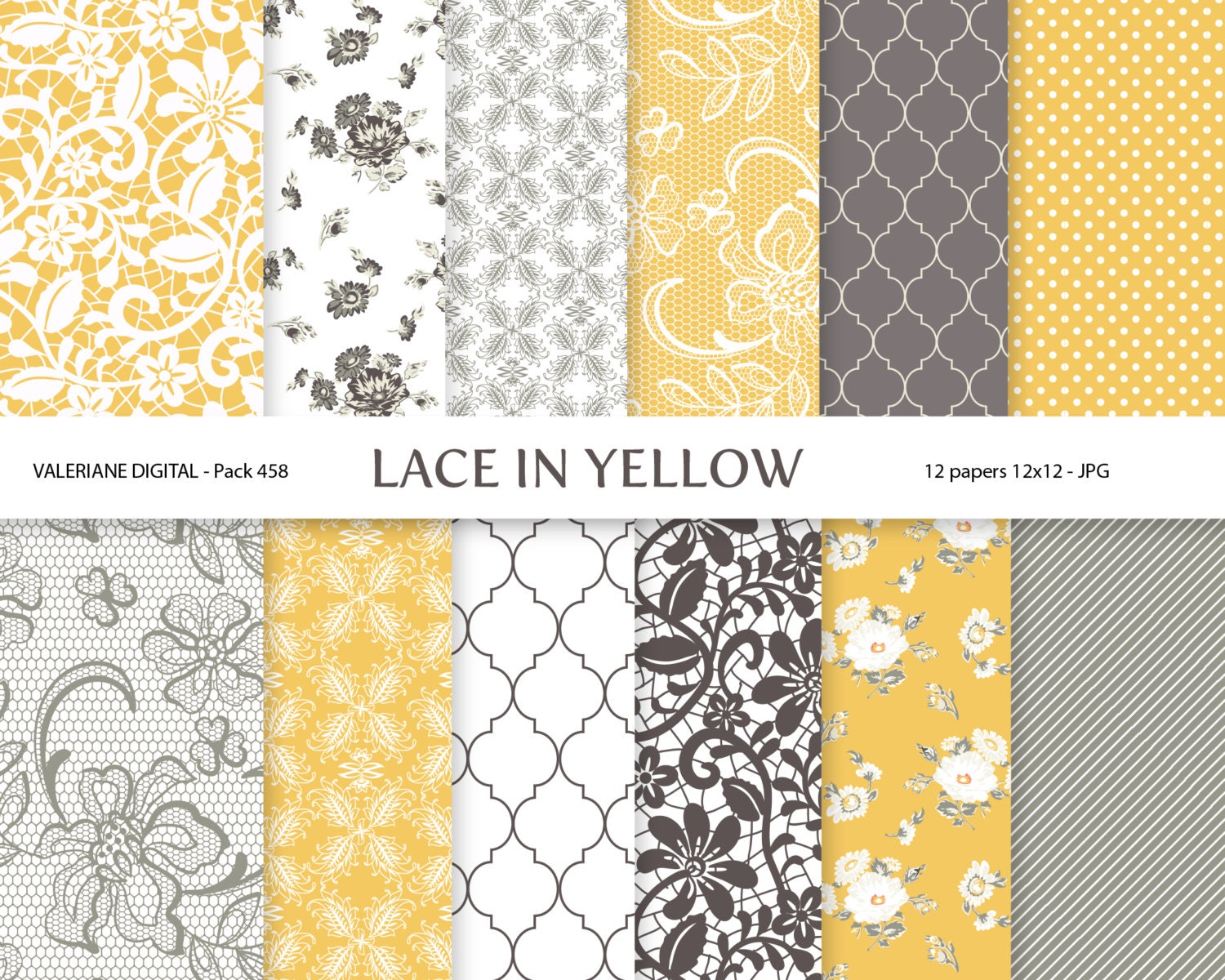 Scrapbook paper lace - Yellow And Grey Digital Paper Lace Scrapbook Paper 12 Jpg 12x12 Instant Download Pack 458