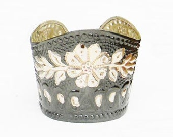 Vintage Victorian Floral Punch Cuff Bracelet INDIA