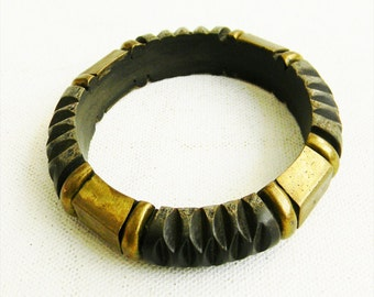 Antique carved WOOD and BRASS Bangle Bracelet