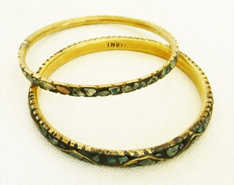 Vintage Turquoise Bracelet British India Crushed Turquoise  and Brass Bangle PAIR