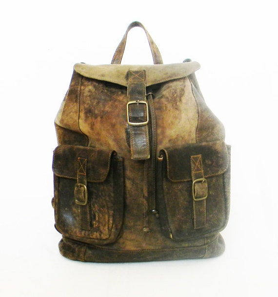 Distressed Leather Backpack HUGE