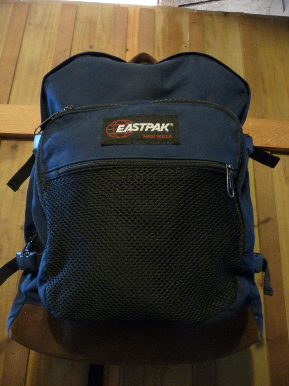 Leather Eastpak Backpack: Vintage Eastpak Leather Bottom Backpack Eastpak Expandable