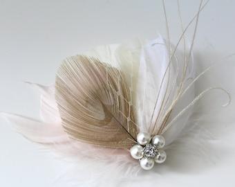 Wedding Bridal White Champagne Blush Ivory Peacock Feather Pearl Rhinestone Jewel Veiling Hair Clip Fascinator Accessory