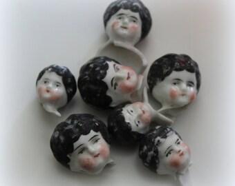 1 Beautiful Antique Porcelain Brunette Doll Head