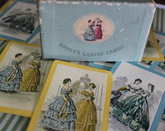 5 Vintage 1930's Godey's Victorian Ladies Playing Cards