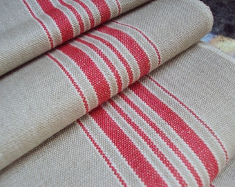 Vintage French Linen Hemp Flax Mangle Cloth 6 Red White Stripes Unused Over 3 Yards long Christmas Tablecloth Cushions Curtains
