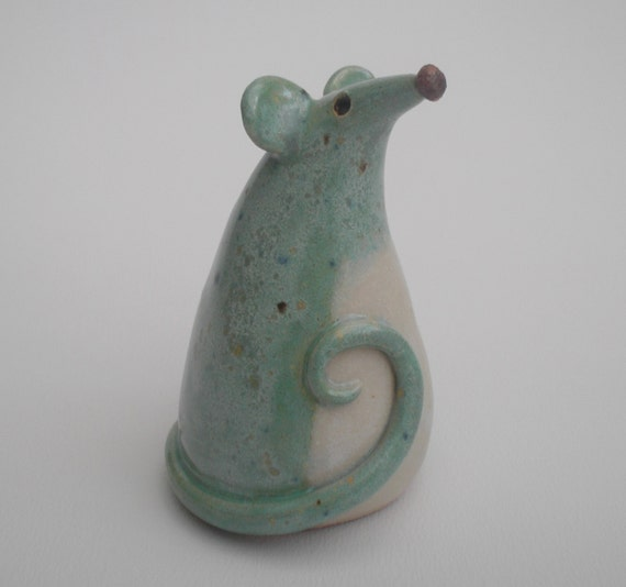 Little Mouse hand modelled ... seafoam green ..  ceramic pottery sculpture