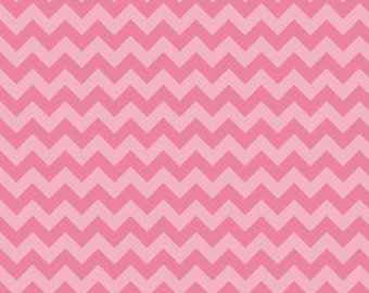 STORE CLOSING Sale Riley Blake Small Chevron Hot Pink Tone on Tone 1 yard