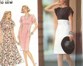 UNCUT 1991 Misses' Dress Simplicity 7258 Size 4-10 Bust 29 1/2 - 32 1/2