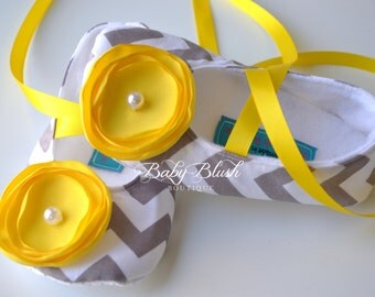 Grey Chevron Soft Ballerina Slippers Baby Booties with Yellow Flowers and Ribbon Ties